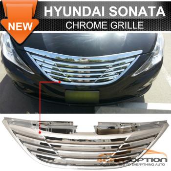 Hyundai Sonata グリル For 11-13 Hyundai Sonata Front Hood Upper Grille Grill Chrome - ABS 11-13ヒュンダイソナタフロントフード上部グリルグリルChromeの - ABS