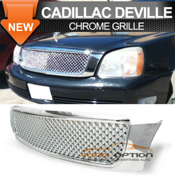 Cadillac Deville グリル 00-05 Cadillac Deville Chrome Mesh Grill Grille - ABS Plastic 00-05キャデラックデビルクロームメッシュグリルグリル - ABSプラスチック