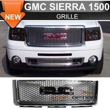 GMC Sierra 1500 グリル 07-13 GMC Sierra 1500 Light Duty Upper Front Round Hole Grille Chrome - ABS 7月13日GMCシエラ1500ライトデューティーアッパーフロント丸穴グリルクローム - ABS