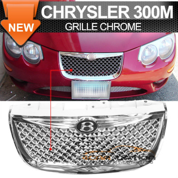 Chrysler 300M グリル 99-04 Chrysler 300M Diamond Chrome Mesh Hood Grille + Emblem - ABS 99から04クライスラー300Mダイヤモンドクロームメッシュフードグリル+エンブレム - ABS