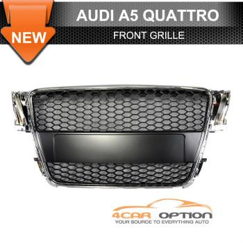 Audi A5 グリル 08-10 Audi A5 Honeycomb Front Hood Grill Grille Chrome 08-10アウディA5ハニカムフロントフードグリルグリルクローム