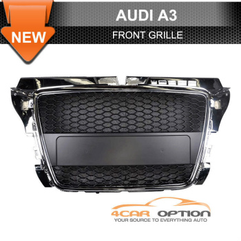 Audi A3 RS グリル For 08-11 Audi A3 RS Style Front Grille Chrome Black 8月11日アウディA3 RSスタイルフロントグリルクロームブラック