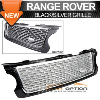 Land Range Range Rover L322 グリル 10-12 Land Rover Range Rover L322 Front Hood Grille Black Silver Mesh 10-12ランドローバーレンジローバーL322フロントフードグリルブラックシルバーメッシュ