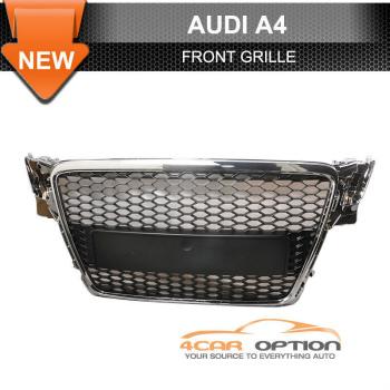 Audi A4 B8 グリル 09-11 Audi A4 B8 Front Mesh Hood Grille Chrome Trim 9月11日アウディA4 B8フロントメッシュフードグリルクロームトリム