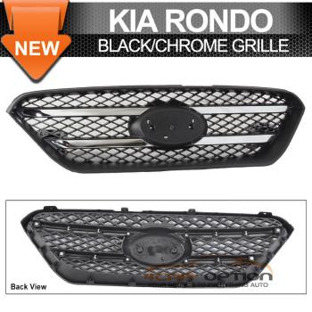 Kia Rondo グリル Fit 07-10 Kia Rondo OE Style Front Mesh Grille Black ABS Plastic Chrome Trim フィット07-10起亜ロンドOEスタイルフロントメッシュグリルブラックABSプラスチッククロームトリム