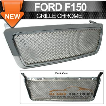 Ford F150 グリル 04-06 Ford F150 F-150 Chrome Front Mesh Grill Grille 04-06フォードF150 F-150クロームフロントメッシュグリルグリル