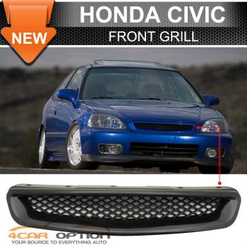 Honda Civic グリル 96-98 Honda Civic ABS JDM T-R Style Replacement Front Hood Bumper Grille 96-98ホンダシビックABS JDM T-Rスタイルの交換フロントフードバンパーグリル