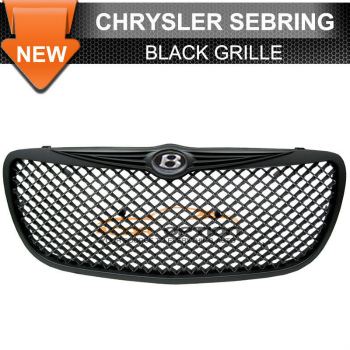 Chrysler Sebring グリル 04-06 Chrysler Sebring Euro Mesh Black Hood Grille Grill With Emblem 04-06クライスラーセブリングユーロメッシュブラックフードエンブレムとグリルグリル