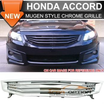Honda Accord 4Drs グリル 11-12 Honda Accord 4Dr Mugen Style Chrome Mesh Front Hood Grille - ABS 11-12ホンダアコード4DR無限スタイルクロームメッシュフロントフードグリル - ABS