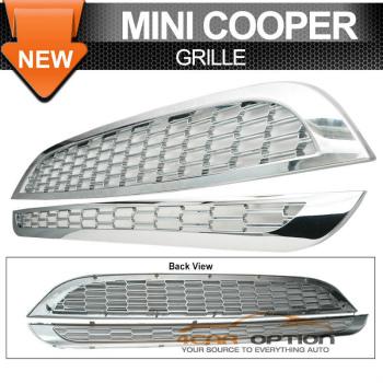 Mini Cooper グリル 02-06 Mini Cooper S R53 2Pcs Piano Chrome Grill Grille 02-06ミニクーパーS R53 2個ピアノクロームグリルグリル