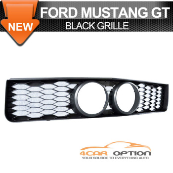 Ford Mustang グリル For 05-09 Ford Mustang Gt Front Grille With Center Fog Hole Black センター霧穴ブラックで05-09フォードマスタングGtのフロントグリルのための