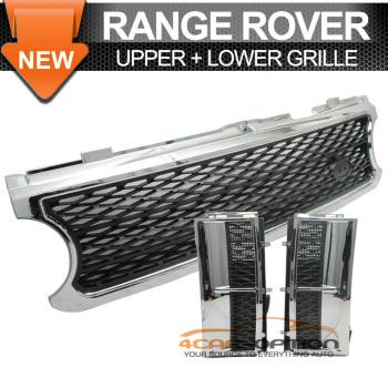 Land Range Range Rover グリル 06-09 Land Range Rover Hse L322 Chrome Black Front Mesh Grille Side Vent 06-09ランドレンジローバーHSE L322クロームブラックフロントメッシュグリルサイドベント