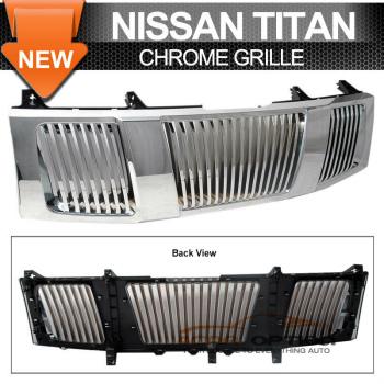 Nissan Titan グリル Fit 04-07 Nissan Titan Armada Chrome Vertical Grille フィット04-07日産タイタンアルマダクローム垂直グリル