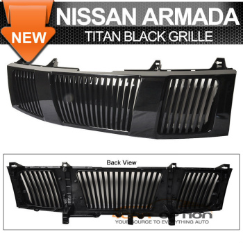Nissan Titan グリル Fit 04-07 Nissan Titan Armada Vertical Black Hood Grille 1P フィット04-07日産タイタンアルマダ垂直ブラックフードグリル1P