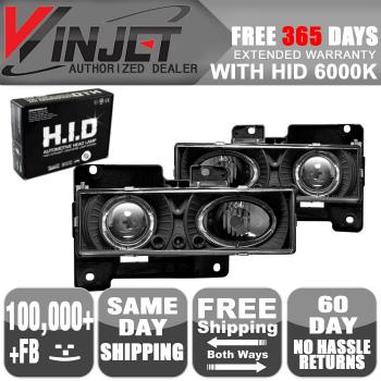 GMC Suburban ヘッドライト 88-98 GMC C K 1500 2500 3500 Halo Projector Head Lights Black Clear + 6000K HID 88?98 GMC C K 1500 2500 3500ヘイロープロジェクターヘッドライトブラッククリア+ 6000K HID