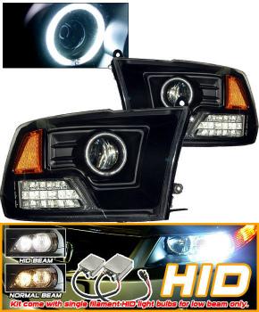 Dodge Ram ヘッドライト HID 09-10 Dodge Ram Black CCFL Halo Projector Headlight HID 09-10ダッジラムブラックCCFLヘイロープロジェクターヘッドライト