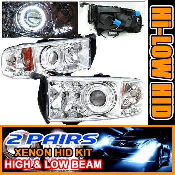 Dodge Ram ヘッドライト 2 Set HID 94-01 Dodge Ram CCFL Halo Projector Headlight 2セットは94から01ダッジラムCCFLヘイロープロジェクターヘッドライトをHID