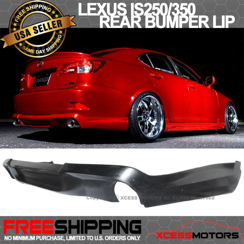 USパーツ 06-13レクサスIS250 IS350タイプ-Vブラックウレタンリヤバンパーリップスポイラーボディキット 06-13 Lexus IS250 IS350 Type-V Black Urethane Rear Bumper Lip Spoiler Bodykit