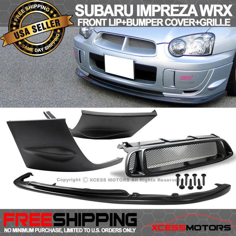 USパーツ 04-05スバルインプレッサWRX 2PCSサイドバンパーカバー+フロントリップ+ ABSグリル For 04-05 Subaru Impreza WRX 2PCS Side Bumper Cover + Front Lip + ABS Grille