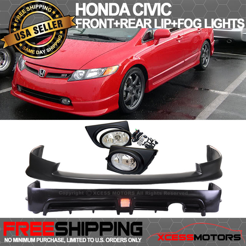 USパーツ 06-08 Honda Civic 4Dr Mugen Type HF-Pウレタンフロントリアバンパーリップ+フォグライト 06-08 Honda Civic 4Dr Mugen Type HF-P Urethane Front Rear Bumper Lip + Fog Light