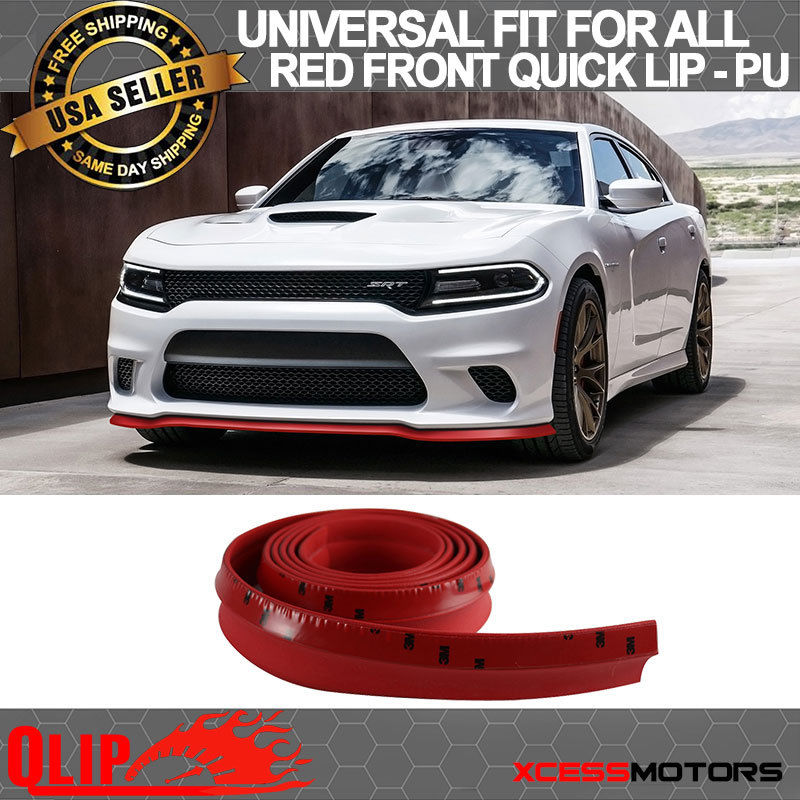 USパーツ ドッジフロントバンパーリップPUスプリッタークイックリップチンEZインストール - 100インチレッド Dodge Front Bumper Lip PU Splitter Quick Lip Chin EZ Install - 100 Inch Red