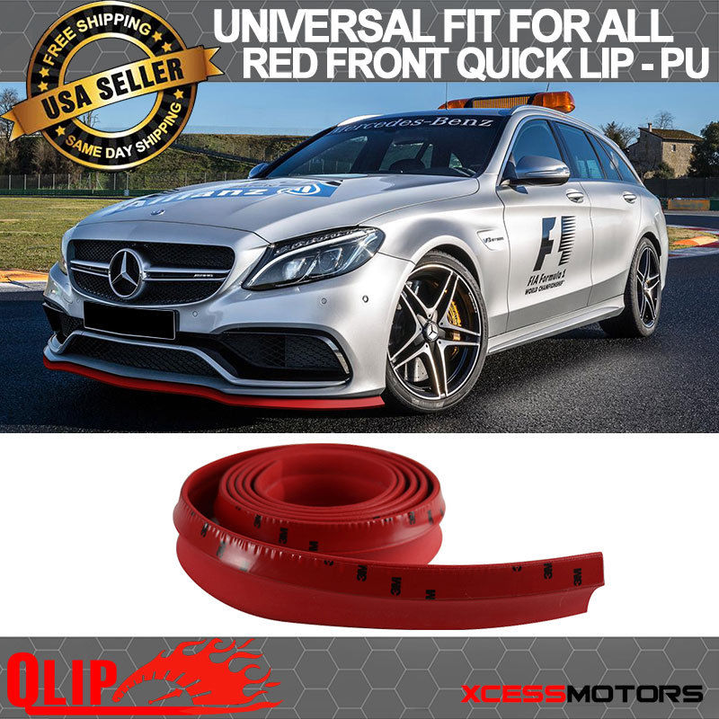 USパーツ フィットベンツフロントバンパーリップPUスプリッタークイックリップチンEZインストール - 100インチレッド Fit Benz Front Bumper Lip PU Splitter Quick Lip Chin EZ Install - 100 Inch Red