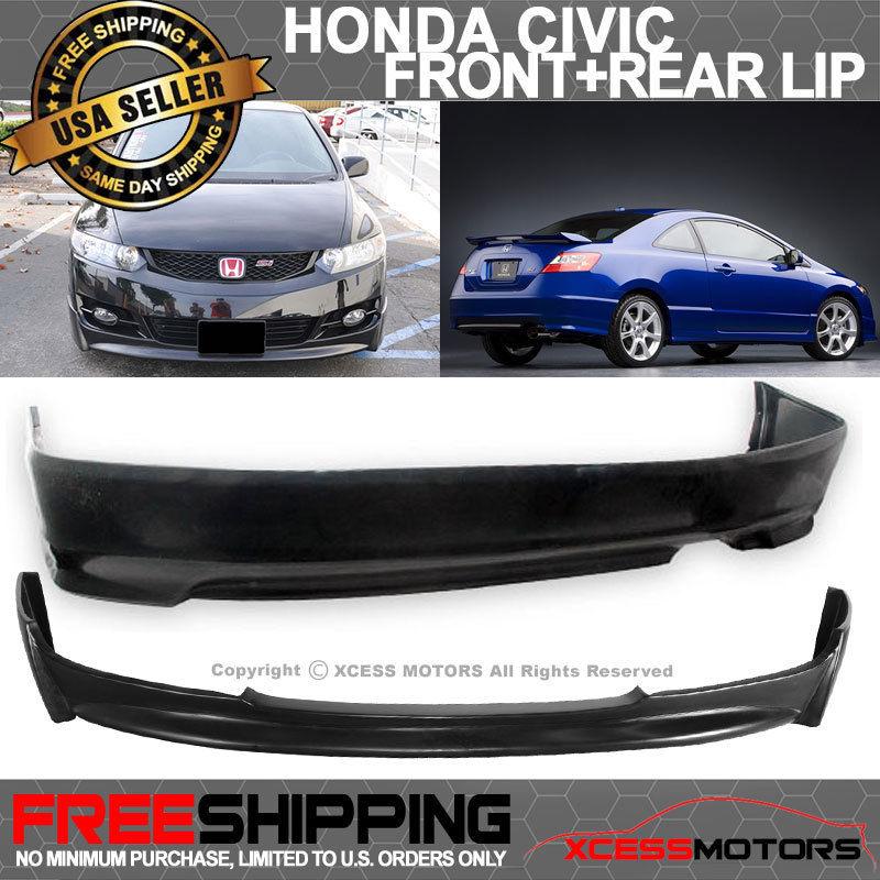 USパーツ 09-11ホンダシビッククーペP1スタイルフロントバンパーリップ+ Sタイプリアバンパーリップ 09-11 Honda Civic Coupe P1 Style Front Bumper Lip + S-Type Rear Bumper Lip