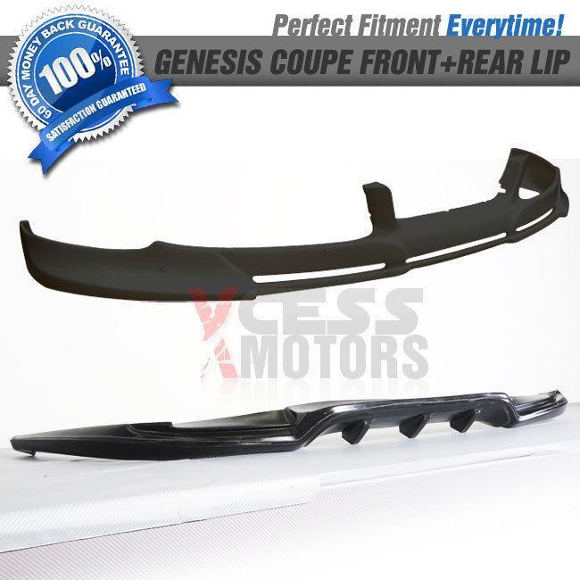 USパーツ フィット10-12ジェネシスクーペウレタンフロント+リアバンパーリップスポイラー Fit 10-12 Genesis Coupe Urethane Front + Rear Bumper Lip Spoiler