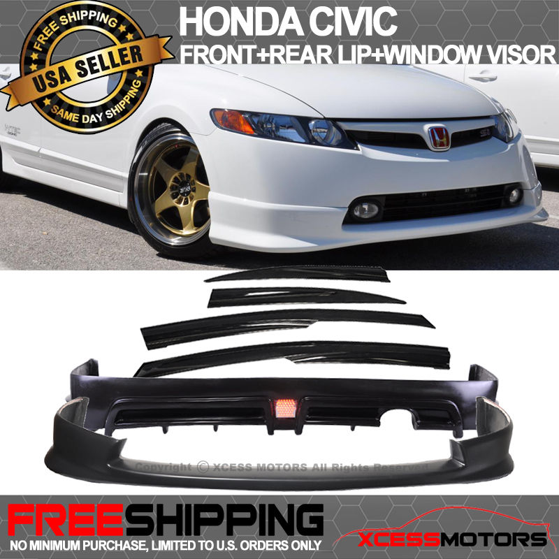 Fits 01-03 Honda Civic 2 4Dr Front Bumper Lip Spoiler MUG Style Polypropylene