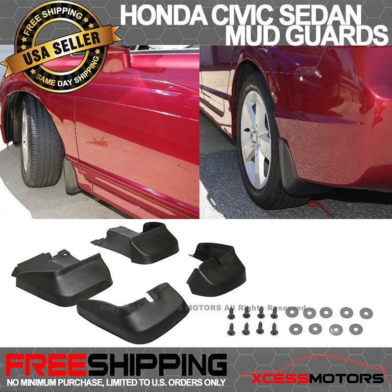 USパーツ 06-11ホンダシビック4DrセダンOEスタイルフロントリア4Pcマッドスプラッシュガードフラップ 06-11 Honda Civic 4Dr Sedan OE Style Front Rear 4Pc Mud Splash Guard Flap