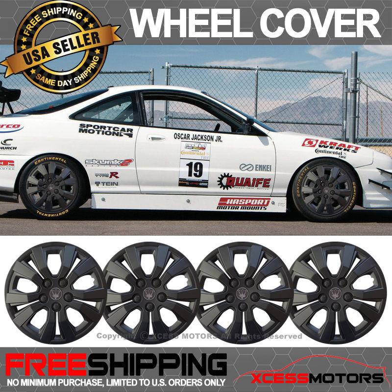 USパーツ ユニバーサル15インチハブキャップHubcapホイールカバータイヤスキンカバーマットブラック4PC Universal 15 Inch Hub Caps Hubcap Wheel Cover Tire Skin Covers Matte Black 4PC