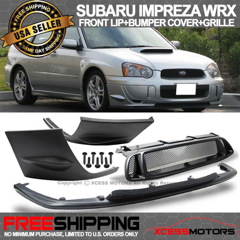 USパーツ 04-05スバルインプレッサWRX 2PCSサイドバンパーカバー+フロントリップ+ ABSグリル For 04-05 Subaru Impreza WRX 2PCS Side Bumper Cover + Front Lip + ABS Grill