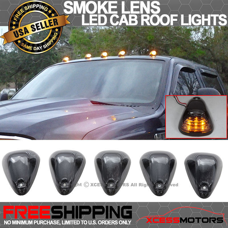 USパーツ フォードトラックトライアングルスモークレンズトップLEDキャブ屋根ランニングマーカーライト Ford Truck Triangle Smoke Lens Top LED Cab Roof Running Marker Lights