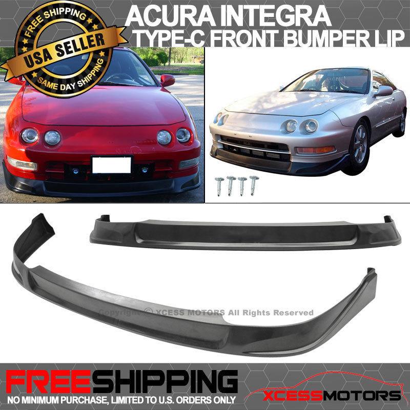 USパーツ 94-97 Acura Integra Type-CブラックフロントバンパーリップスポイラーPU For 94-97 Acura Integra Type-C Black Front Bumper Lip Spoiler PU