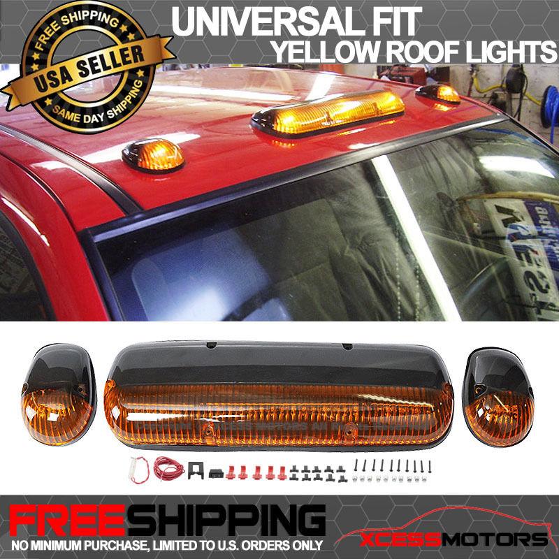 USパーツ ユニバーサルLEDトップ屋根ライトキャブSUVのバンのマーカーランプを駆動黄色のレンズ Universal LED Top Roof Light Driving Marker Lamps Yellow Lens For Cab SUV Van