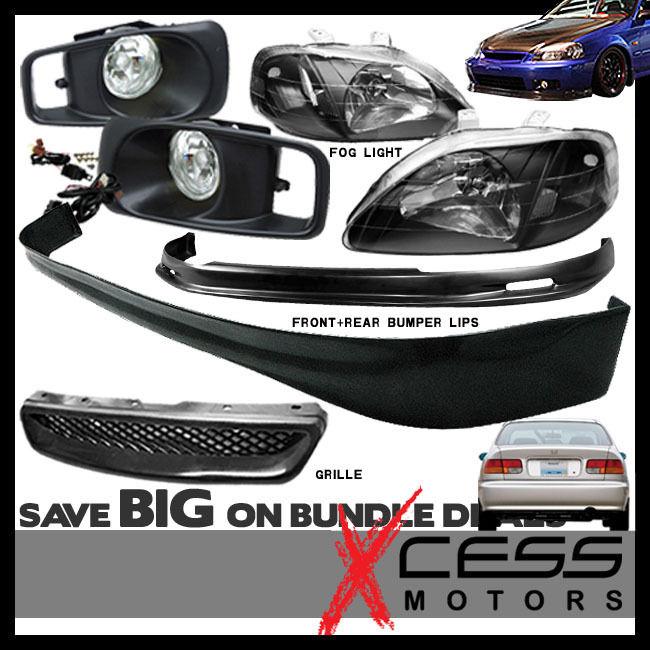 USパーツ Civic EK 3Dフロント+リアバンパーリップスポイラーフォグライトグリル+ヘッドランプ Civic EK 3D Front + Rear Bumper Lip Spoiler Fog Lights Grille + Headlights Lamps