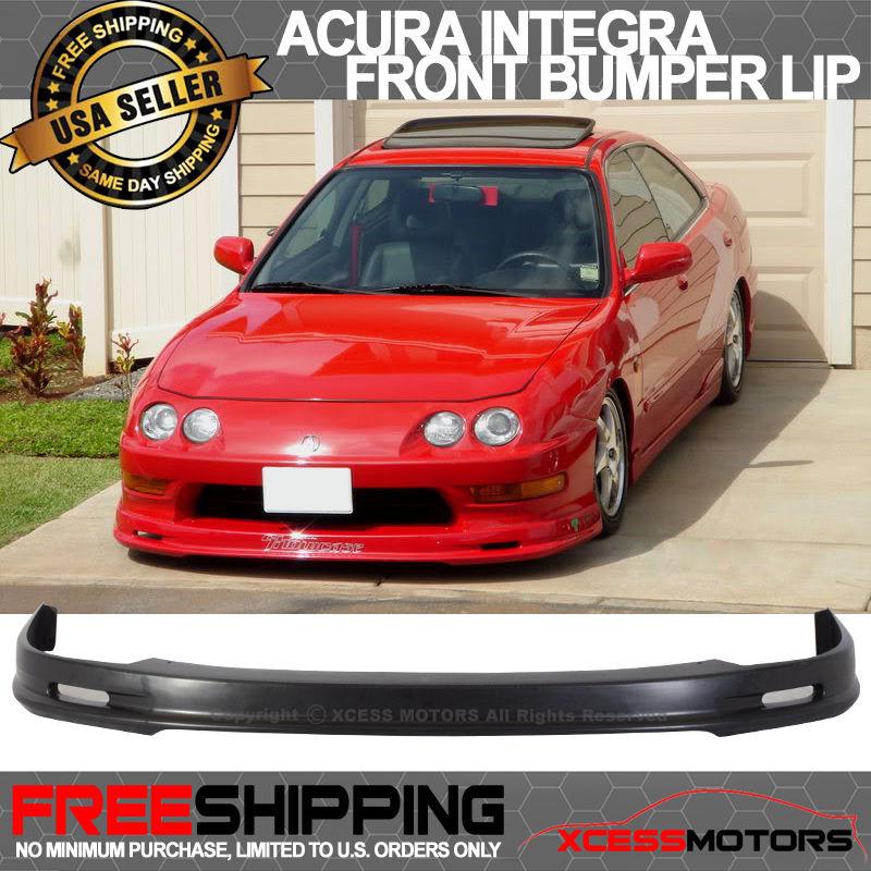 USパーツ 98-01 Acura Integra DC2ポリウレタンフロントバンパーリップスポイラーブラックムゲン 98-01 Acura Integra DC2 Poly Urethane Front Bumper Lip Spoiler Black Mugen