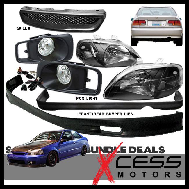 USパーツ Civic 2 4Dr SPOONフロント+リアバンパーリップスポイラーフォグライトグリル+ヘッドライト Civic 2 4Dr SPOON Front + Rear Bumper Lip Spoiler Fog Lights Grille + Headlights