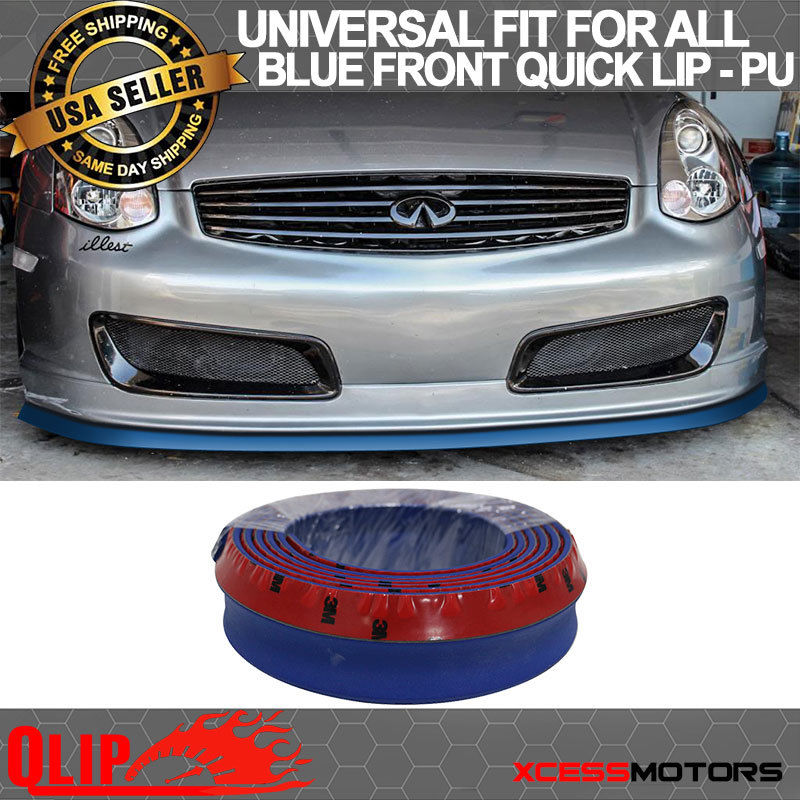 USパーツ フィットインフィニティフロントバンパーリップPUスプリッタークイックチンEZインストール - 100インチブルー Fit Infiniti Front Bumper Lip PU Splitter Quick Chin EZ Install - 100 Inch Blue