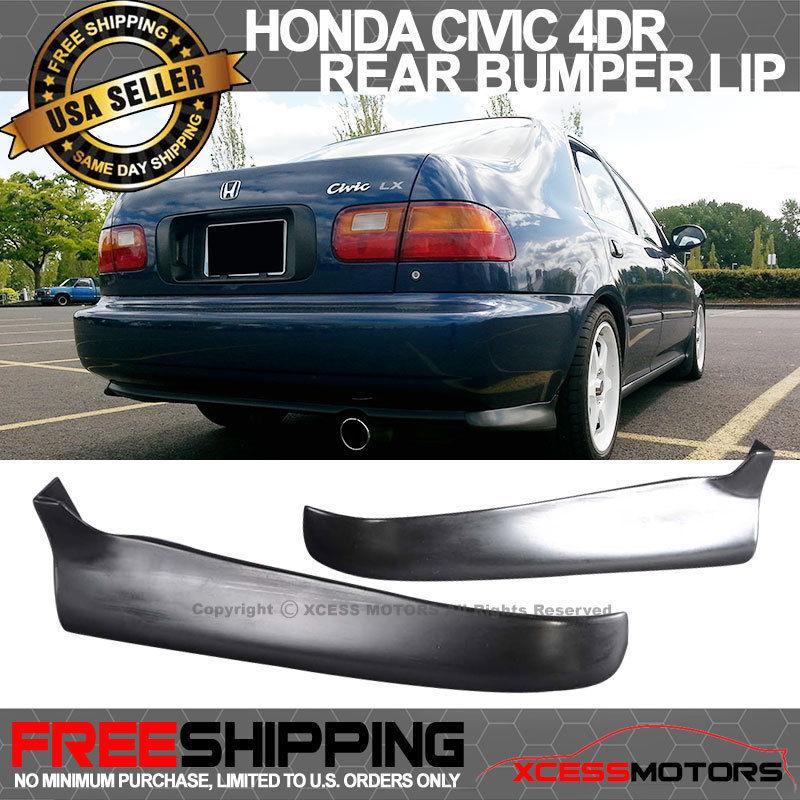 USパーツ 92-95ホンダシビック2 4Dr PU 2Pcリアバンパーリップスポイラーバランススパッツ 92-95 Honda Civic 2 4Dr PU 2Pc Rear Bumper Lip Spoiler Valance Spats