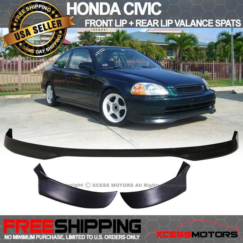 USパーツ 96-98 Civic EK 3Dr T-R PPフロントバンパーリップ+ヴァランススピッツ2Pcリアリップ 96-98 Civic EK 3Dr T-R PP Front Bumper Lip + Valance Spats 2Pc Rear Lip