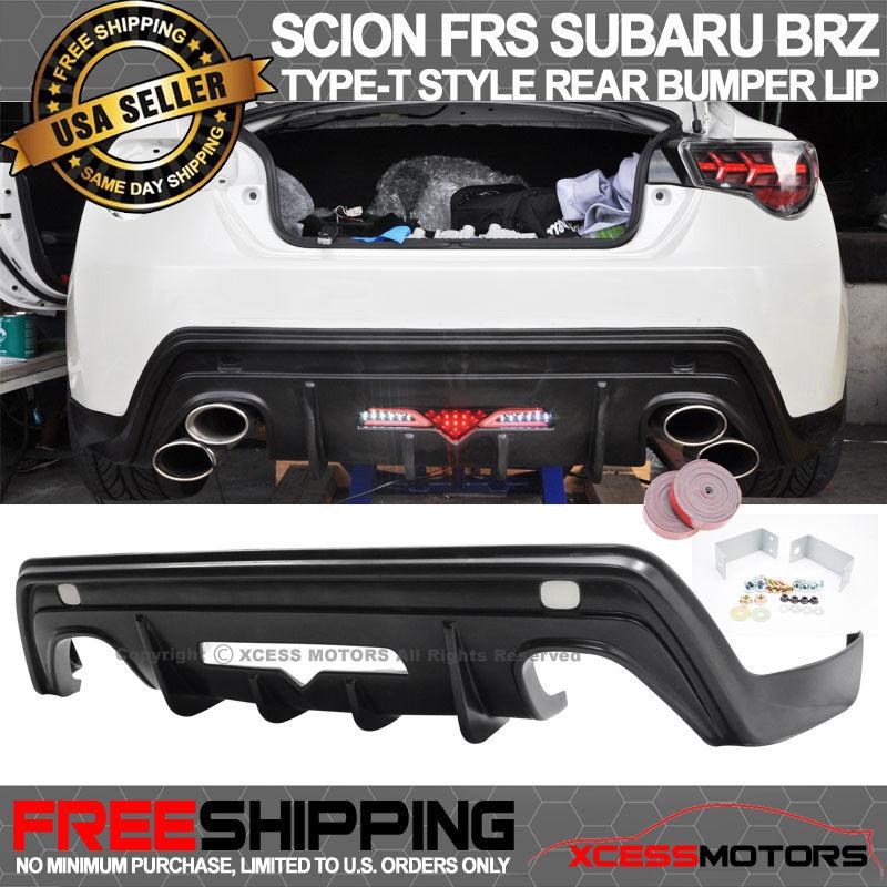 USパーツ フィット13-17サイオンFRS GT86タイプ-TスタイルリアバンパーリップスポイラーPUブラック Fit 13-17 Scion FRS GT86 Type-T Style Rear Bumper Lip Spoiler PU Black