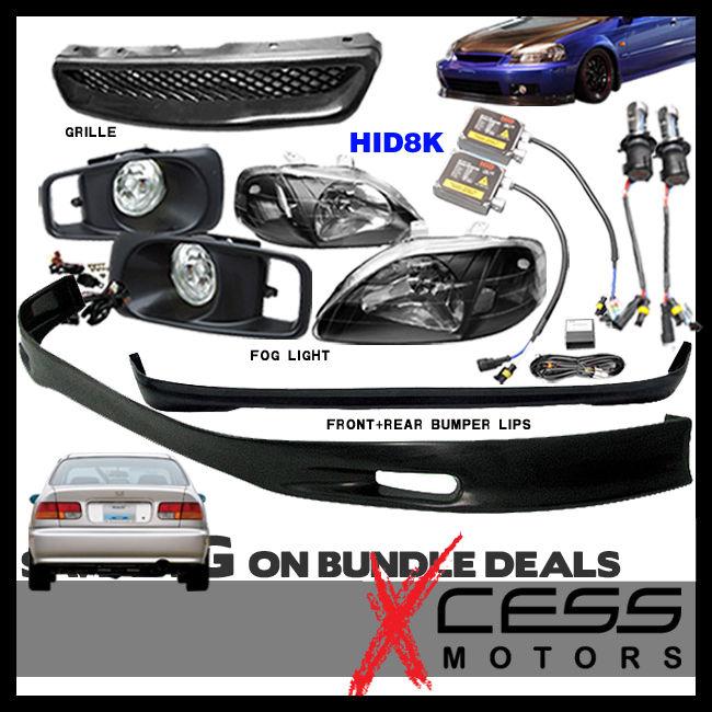 USパーツ シビックEK 3DフロントリアバンパーリップフォグライトグリルヘッドライトHID 8000K Civic EK 3D Front Rear Bumper Lip Fog Lights Grille Headlights HID 8000K