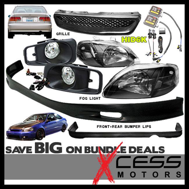 USパーツ シビック2 4DrフロントリアバンパーリップスポイラーフォグライトグリルヘッドライトHID 6000K Civic 2 4Dr Front Rear Bumper Lip Spoiler Fog Lights Grille Headlight HID 6000K