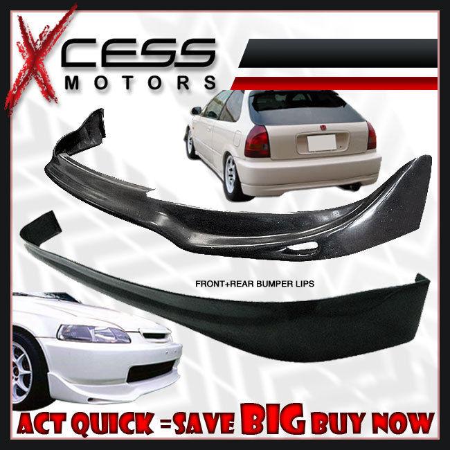 USパーツ Civic EK 3D JUNフロント+リアバンパーリップスポイラー+フォグライトHID 8000Kグリル Civic EK 3D JUN Front + Rear Bumper Lip Spoiler + Fog Lights HID 8000K Grille