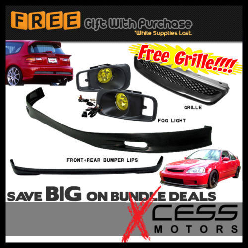 USパーツ 99-00ホンダシビックEK 3D HBフロント+リアバンパーリップスポイラー+フォグライト+グリル 99-00 Honda Civic EK 3D HB Front + Rear Bumper Lip Spoiler + Fog Lights + Grille