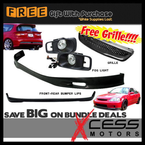 USパーツ 99-00ホンダシビックEK 3Dフロント+リアバンパーリップスポイラー+フォグライト+グリル 99-00 Honda Civic EK 3D Front + Rear Bumper Lip Spoiler + Fog Lights + Grille