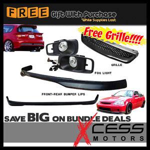 USパーツ Civic EK 3Drフロント+リアバンパーリップ+フォグライティンググリル Civic EK 3Dr Front + Rear Bumper Lip + Fog Lights Grille