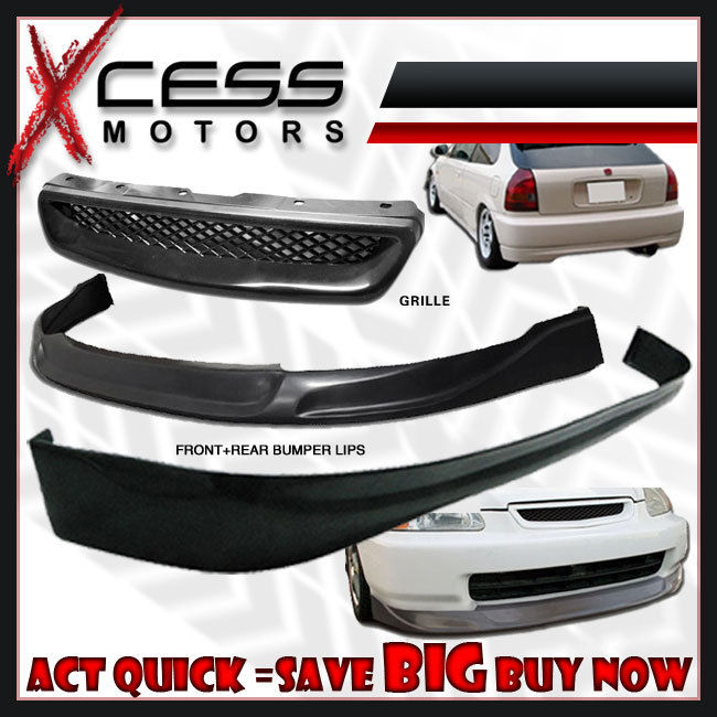 USパーツ シビックEK 3D JDMタイプCフロント& リアバンパーリップスポイラー& フォグライト& グリル Civic EK 3D JDM Type C Front & Rear Bumper Lip Spoiler & Fog Lights & Grill