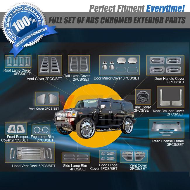USパーツ 52PCSベントミラーバンパードアハンドルカバーランプリムライセンス03 04 05ハマーH2 52PCS Vent Mirror Bumper Door Handle Cover Lamp Rim License 03 04 05 Hummer H2